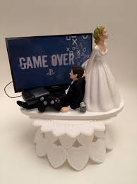 Game Over Bride And Groom Ps4 Funny Wedding Cake Topper Video Game