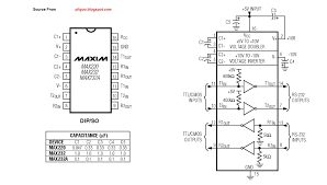 max232 pinout and circuit diagram