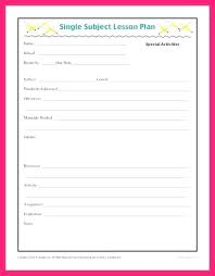Single Subject Lesson Plan Template Daily Lesson Plan Template Elementary