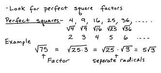some key topics that involve simplifying radicals