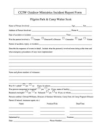 Camp Incident Report Magdalene Project Org