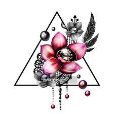 Nálepka Na Stěny Květinové Barevné Tetování