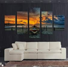... China Products Canvas Prints Wall Art Large High Definitions  Contemporary Sea Ocean Ship Board Wooden Sunset ...