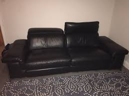dfs focal black leather 3 2 seater electric reclining sofas