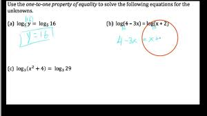 3 2 3 one to one property of logarithmic equations