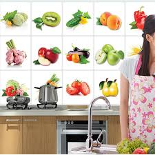 decorative kitchen wall tiles. 2018 New 3D DIY Vinyl Oil Proof Kitchen Wall Stickers Vegetable Fruit  Poster Tile Mural Home Decoration Removable Decals -in From Decorative Kitchen Wall Tiles