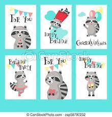 Templates For Birthday Cards Raccoon Birthday Cards Vector Template Set