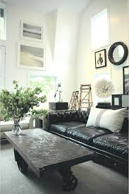 industrial style living room furniture. industrial style living room with black leather sofa and wal art collection decor furniture