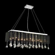 picture of 40 gocce modern string shade crystal rectangular chandelier chrome with black white