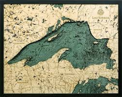 Little Bay De Noc Depth Chart Lake Superior 3 D Nautical Wood Chart 24 5 X 31 Office