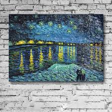 vincent van gogh starry night over the rhone hand painted canvas wall art