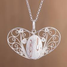 handcrafted sterling silver filigree heart pendant necklace heartstrings