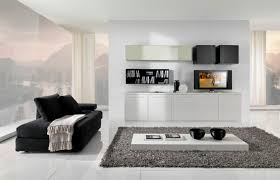 white living room furniture small. Modern Living Room Furniture Ideas With Black Sofa Grey Rugs White Cabinets Bookshelf Tv Glass Windows Small