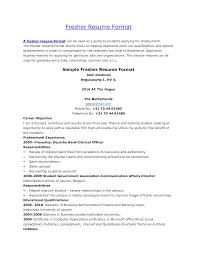 Cover Letter Fresher Resume Formats Freshers Resume Format