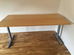 office table desk grey metal legs wooden top very good condition