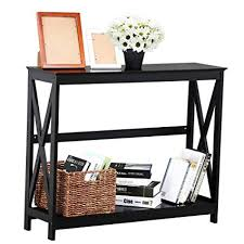 Yaheetech 2 Tier XDesign Occasional Console Sofa Side Table Bookshelf Entryway Accent Tables W