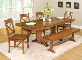 rustic kitchen table with bench. Image Of: Rustic Dining Room Plank Wall Natural Wood Kitchen Table Bench Inside With