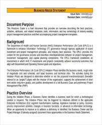 Business Brief Example 13 Examples Of Need Statements Examples