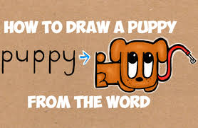 cute puppy drawings in pencil for kids. Modren Cute Learn How To Draw A Cartoon Puppy From The Word  Easy Steps Tutorial  For Kids  Step By Drawing Tutorials To Cute Drawings In Pencil For