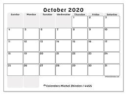 October 2020 Calendars Ss Michel Zbinden En
