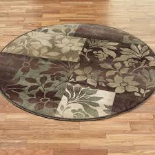 leaf collage round rug plum