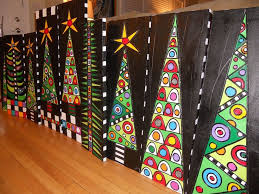 Christmas Trees. That would be a beautiful school art project idea. {Sorry  no