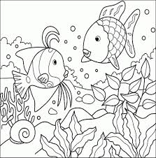 easy coloring page of a fish aquarium pages free for kids