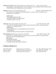 Sample Resume Food Service Best of Resume For Food Service With St Supervisor Objective Creerpro