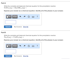 part a write the complete and balanced chemical equation for this precipitation reaction feso4