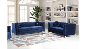 herbert modern blue velour sofa