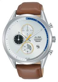 alba am3573x1 og leather cal watch for men light brown