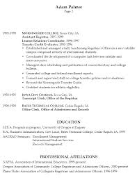 Sample Resume University Registrar Example Resume University Registrar pg2