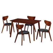techni home 5 piece walnut modern wood dining room table and chairs set