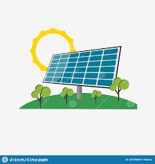 Green Technology House Design Solar Panel Energy Vector Template Design Illustration Stock