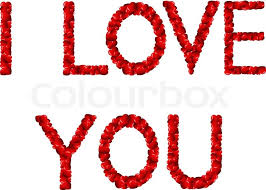 Word In Red Words I Love You In English Made Stock Vector