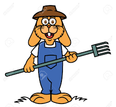 Rabbit Farmer With Pitchfork Cartoon Royalty Free Cliparts