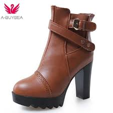 women las casual wedge super high heels platform round toe pu vegan leather ankle boots shoes female lace up footwear booties ariat boots work boots from