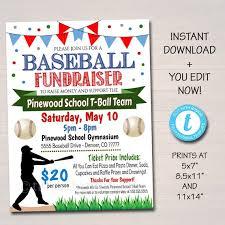 Editable Baseball Fundraiser Flyer Printable Pta Pto Flyer School Benefit Fundraiser Event Poster Digital Party Little League Invitation