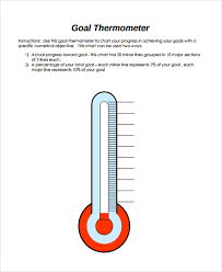 Printable Goal Chart Thermometer Sample Thermometer Template 9 Free Documents Download In