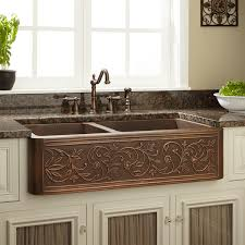 33 vine design 60 40 offset double bowl copper farmhouse sink