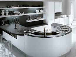 modern kitchen island. Black And White Curved Modern Kitchen Island