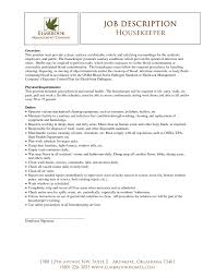 Housekeeping Job Description For Resume Amusing House Cleaning