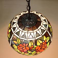 Decorative Rose Pattern Stained Glass Global Kitchen Pendant Light