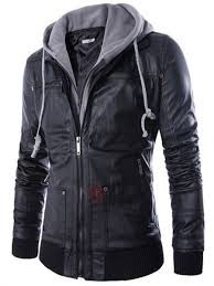20 offdouble layer hooded zipper men s leather jacket