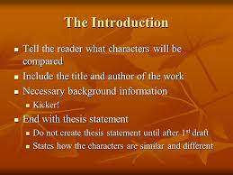 writing a comparison contrast essay discussing similarities  the introduction tell the reader what characters will be compared tell the reader what characters will