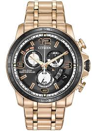 men s rose gold citizen eco drive chrono time a t watch by0108 50e
