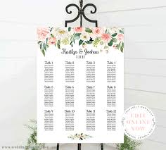 Wedding Seating Chart Poster Portrait 18x24 Blush Florals Edit Online
