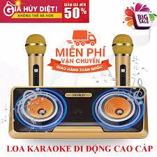 XẢ KHO SALE 50% ] Loa Karaoke Hàng Nhật Mini Micro Kèm LoaMic Hát Cầm Tay -  Loa Bluetooth Karaoke SDRD SD-301 Kèm 2 Mic Không Dây Loa karaoke xách tay