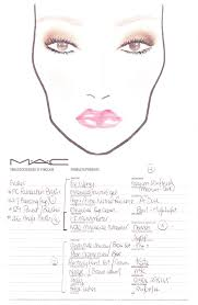 hannah s makeup face chart from a mac makeup lesson