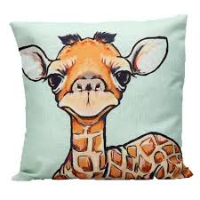 vine decorative throw pillows cartoon giraffe cotton linen cover for home bedding capa de almofadas